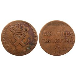 1722-H [La Rochelle Mint] Copper Nine Deniers, Martin 2.3-D.3.  High Rarity-7.