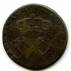 1722-H [La Rochelle Mint] Copper Nine Deniers, Martin 2.16-D.2.  Rarity-3.