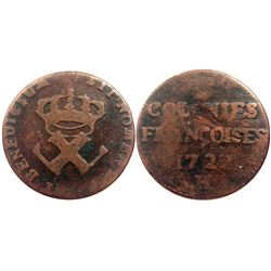 1722-H [La Rochelle Mint] Copper Nine Deniers, Martin 2.20-D.1.  Rarity-3.