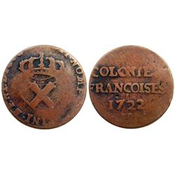 1722/1-H [La Rochelle Mint] Copper Nine Deniers, Martin 2.5-C.1.  Rarity-3.