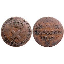 1722/1-H [La Rochelle Mint] Copper Nine Deniers, Martin 2.7-C.2.  Rarity-3.