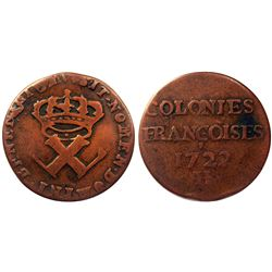 1722/1-H [La Rochelle Mint] Copper Nine Deniers, Martin 2.27-C.6.  Rarity-6.