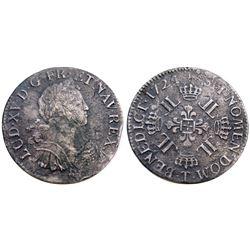 1724-T [Nantes Mint] Ecu aux 8 L's, Gadoury 320.