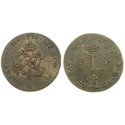 1739-A Billon Sous Marques.  Vlack 17b.  Rarity-6.