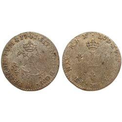1741-A Billon Sous Marques.  Vlack 20.  Rarity-1.