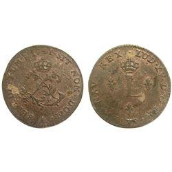 1741 Billon Sous Marques.  Vlack 20a. Rarity-5.