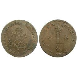 1742/1 Billon Sous Marques.  Vlack 21c.  Rarity-7.