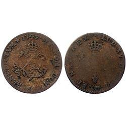 1749-A Billon Sous Marques.  Vlack 29a.  Rarity-5.