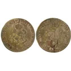 1751-A Billon Sous Marques.  Vlack 31.  Rarity-6.