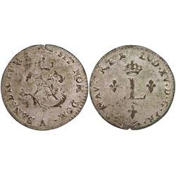1752-A Billon Sous Marques.  Vlack 32.  Rarity-8.