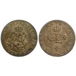 1755-A Billon Sous Marques.  Vlack 35a.  Rarity-4.