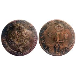 1757-A Billon Sous Marques.  Vlack Unlisted.  Rarity-8 for the metal this is struck in.