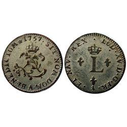 1757-A Billon Sous Marques.  Vlack 41a.  Rarity-7.
