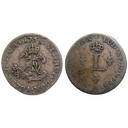 1758-A Billon Sous Marques.  Vlack UNLISTED.  Rarity-8.