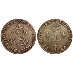 1759/8-A Billon Sous Marques.  Vlack 43b.  Rarity-6.