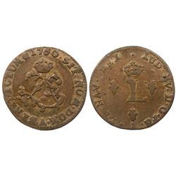 1760/58/4-A Billon Sous Marques.  Vlack 44b.  Rarity-6.