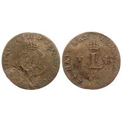 1760-A Billon Sous Marques.  Vlack 44c.  Rarity-8.