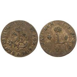 1763/Inverted 2-A Billon Sous Marques.  Vlack 47a.  Rarity-6.