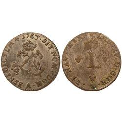 1763-A Billon Sous Marques.  Vlack 47b.  Rarity-4.