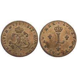 1739-B Billon Sous Marques.  Vlack 50.  Rarity-1.
