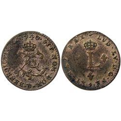 1740/39-B Billon Sous Marques.  Vlack 51a.  Rarity-7.