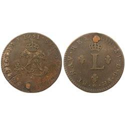 1751-C Billon Sous Marques.  Vlack 68.  Rarity-7.