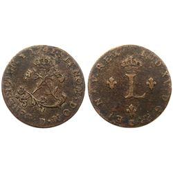 1742-D Billon Sous Marques.  Vlack 74.  Rarity-8.