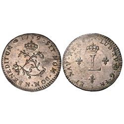 1739-N Billon Sous Marques.  Vlack 149b, the exceedingly rare BENEDITUM error.  Rarity-8.