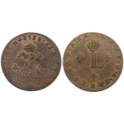 1738-O Billon Sous Marques.  Vlack 153.  Rarity-7.