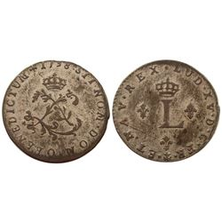 1738-O Billon Sous Marques.  Vlack UNLISTED, will be known as Vlack 153a.  Rarity-8.