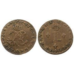 1739-O Billon Sous Marques.  Vlack 145e.  Rarity-5.