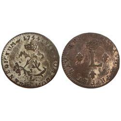 1744-P Billon Sous Marques.  Vlack 168a.  Rarity-7.