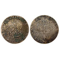 1738-Y Billon Sous Marques.  Vlack 217.  Rarity-8.