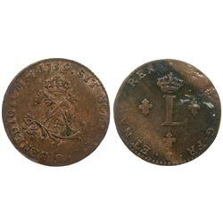 """1739 – """"9"""" Mint Billon Sous Marques.  Vlack 225.  Rarity-6."""