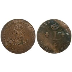 "1739 – ""9"" Mint Billon Sous Marques.  Vlack 225.  Rarity-6."