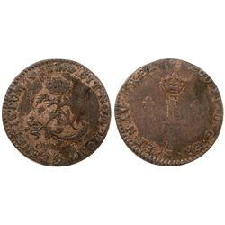 """1742 – """"9"""" Mint Billon Sous Marques.  Vlack 228.  Rarity-6."""