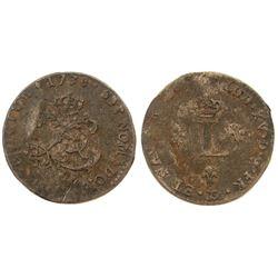 """1738 – """"&"""" Mint Billon Sous Marques.  Vlack 231.  Rarity-8."""