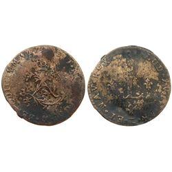 """1739 – """"&"""" Mint Billon Sous Marques.  Vlack 232b.  Rarity-8."""