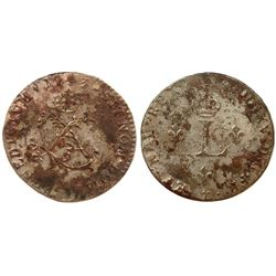 "1743 – ""&"" Mint Billon Sous Marques.  Vlack 235.  Rarity-8."