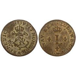 1739-A [Paris Mint] Billon Half Sous Marques.  Vlack 294.  Rarity-4.