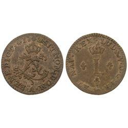 1740-A [Paris Mint] Billon Half Sous Marques.  Vlack 295.  Rarity-3.