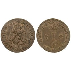 1740-A [Paris Mint] Billon Half Sous Marques.  Vlack 295.  Rarity-3.