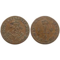 1748-A [Paris Mint] Billon Half Sous Marques.  Vlack 297.  Rarity-6?