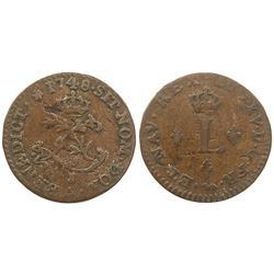 1748-A [Paris Mint] Billon Half Sous Marques.  Vlack 297.  Rarity-6?