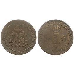 1740-G [Poitiers Mint] Billon Half Sous Marques.  Vlack 301.  Rarity-3.