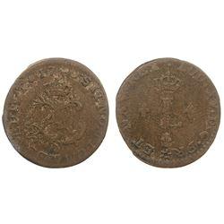 1740-M [Toulouse Mint] Billon Half Sous Marques.  Vlack 306.  Rarity-7.
