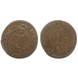 1740-M [Toulouse Mint] Billon Half Sous Marques.  Vlack 306.  Rarity-7.