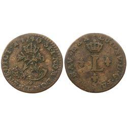 1740-T [Nantes Mint] Billon Half Sous Marques.  Vlack 314.  Rarity-2.