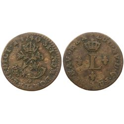 1740-T [Nantes Mint] Billon Half Sous Marques.  Vlack 314.  Rarity-2.