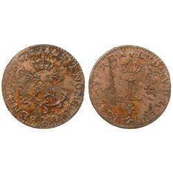 1740-X [Amiens Mint] Billon Half Sous Marques.  Vlack 317.  Rarity-7.